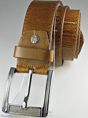 Светлокафяв колан с релефни орнаменти от естествена телешка кожа стилна класическа тока широк 4,5 см - BM1060
