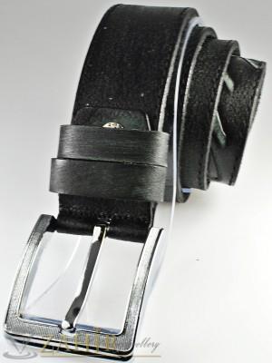 Протрит черен колан с релефни орнаменти от естествена телешка кожа стилна класическа тока широк 4,5 см - BM1061