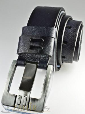 Тъмносин колан с орнаменти от естествена телешка кожа стилна класическа тока с дебел шип, широк 4,5 см - BM1065