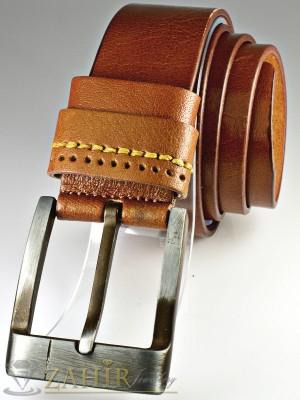 Кафяв изчистен колан с декоративни шевове от естествена телешка кожа стилна класическа тока широк 4,5 см - BM1067