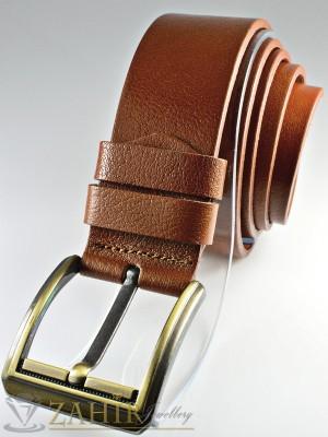 Кафяв изчистен колан от естествена телешка кожа старинна златиста тока широк 4,5 см - BM1071