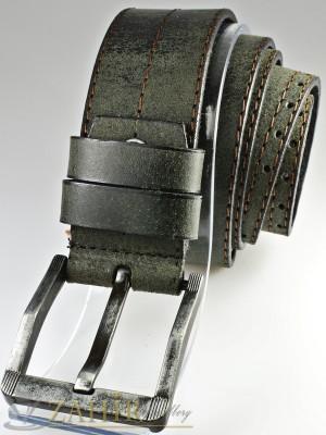 Масленозелен колан с протрит ефект от естествена телешка кожа стилна класическа тока широк 4,5 см - BM1072