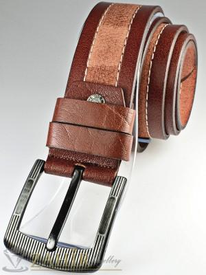 Колан бордо с протрит ефект от естествена телешка кожа стилна класическа тока широк 4,5 см - BM1073