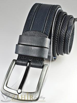Тъмносив колан с релефни орнаменти от естествена телешка кожа стилна класическа тока широк 4,5 см - BM1082