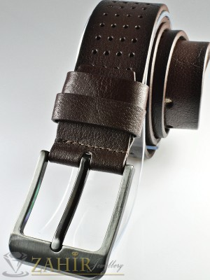 Тъмнокафяв колан с орнаменти, надупчен от естествена телешка кожа стилна класическа тока широк 4,5 см - BM1084