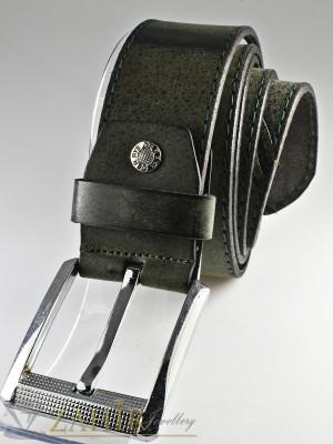 Зелено-сив колан с протрит ефект от естествена телешка кожа стилна класическа тока широк 4,5 см - BM1085