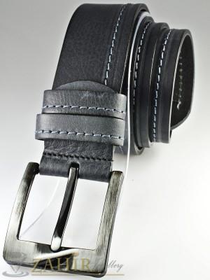Тъмносив колан с декоративни шевове от естествена телешка кожа стилна класическа тока широк 4,5 см - BM1087