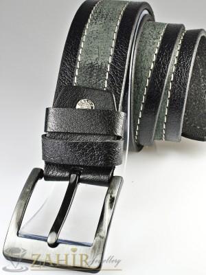 Сиво-черен колан с декоративни шевове от естествена телешка кожа стилна класическа тока широк 4,5 см - BM1090