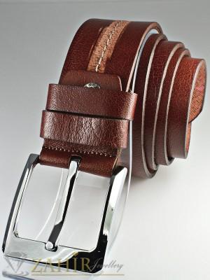 Колан бордо с протрит ефект от естествена телешка кожа стилна класическа тока широк 4,5 см - BM1092