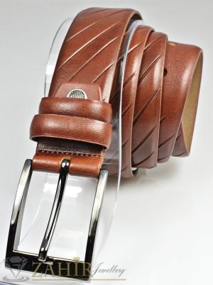 Класически кафяв мъжки колан за панталон от естествена кожа с елегантна тока, широк 3 см - BM1098