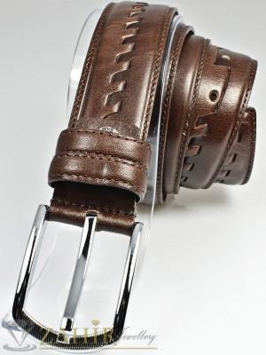 Класически тъмнокафяв мъжки колан за панталон от естествена кожа с елегантна тока, широк 3 см - BM1099