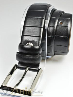 Класически черен мъжки колан за панталон от естествена кожа с елегантна тока, широк 3 см - BM1101