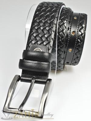 Класически черен мъжки колан за панталон от естествена кожа с елегантна тока, широк 3 см - BM1102