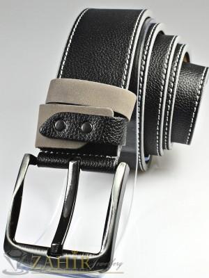 Черен колан с декоративни шевове от еко кожа с класическа тока, широк 4,5 см - BM1110