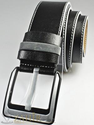 Черен колан с декоративни шевове от еко кожа с класическа тока, широк 4,5 см - BM1111