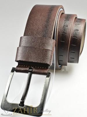 Тъмнокафяв колан с декоративни орнаменти от еко кожа с класическа тока, широк 4,5 см - BM1116