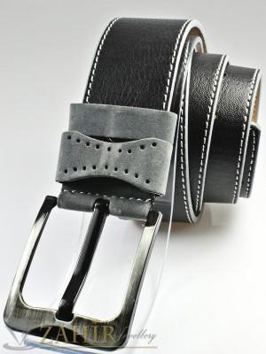 Черен колан с декоративни шевове, от еко кожа с класическа тока, сиви халки широк 4,5 см - BM1119