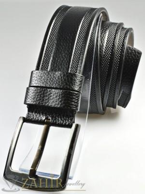Черен колан с декоративни орнаменти, от еко кожа с класическа тока, широк 4,5 см - BM1121