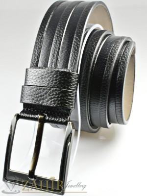 Черен колан с декоративни орнаменти, от еко кожа с класическа тока, широк 4,5 см - BM1122