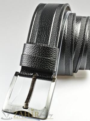 Черен колан с декоративни орнаменти, от еко кожа с класическа тока, широк 4,5 см - BM1123