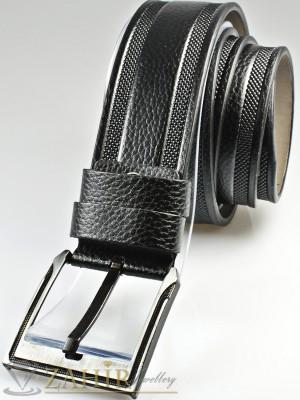 Черен колан с декоративни орнаменти, от еко кожа с класическа тока, широк 4,5 см - BM1124