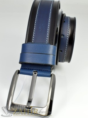 Спортен тъмносин-черен колан естествена кожа, широк 4,5 см - BD1001