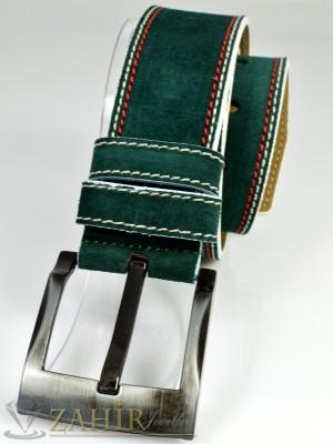 Тъмнозелен колан естествена кожа с декоративен шев, широк 4,5 см - BD1004