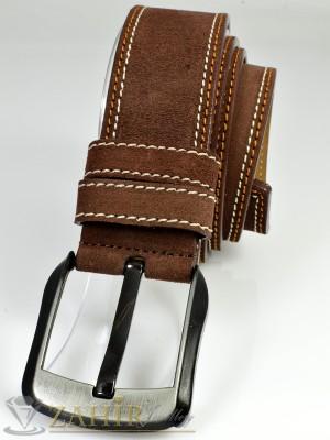 Кафяв колан естествен велур с декоративен шев, стилна тока, широк 4,5 см - BD1005