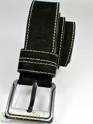 Черен колан естествен велур с декоративен шев, стилна тока, широк 4,5 см - BD1007