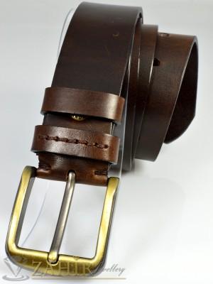 Висококачествен колан естествена дебела телешка кожа, кафяв, широк 4 см - BD1012
