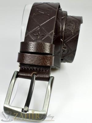 Дизайнерски колан естествена телешка кожа, тъмнокафяв, релефни орнаменти, широк 4 см - BD1017