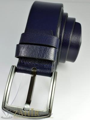 Тъмносин изчистен колан естествена кожа, стилна тока, широк 4,5 см - BD1021