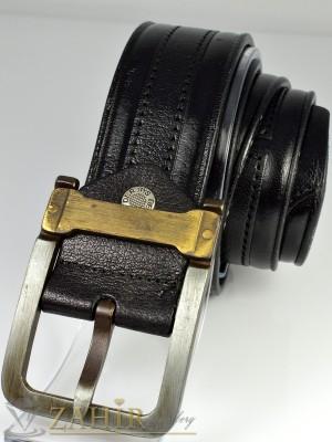 Черен колан от естествена кожа, релефни орнаменти, интересна тока , широк 4 см - BD1027
