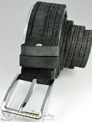 Тъмносив колан естествен велур, релефен, сребриста тока, широк 4 см - BD1032