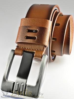 Светлокафяв колан с орнаменти от естествена телешка кожа стилна класическа тока с дебел шип, широк 4,5 см - BD1036