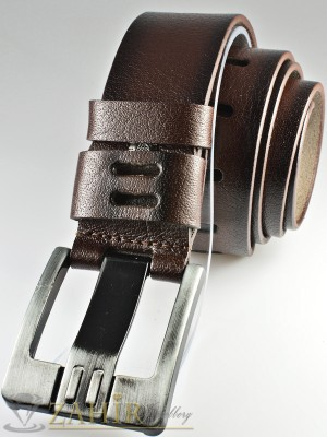 Тъмнокафяв колан с орнаменти от естествена телешка кожа стилна класическа тока с дебел шип, широк 4,5 см - BD1037