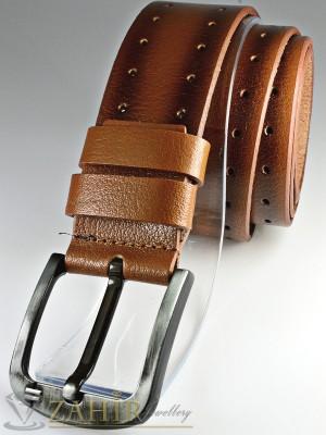 Кафяв изчистен колан, декоративни орнамент от естествена телешка кожа стилна класическа тока широк 4,5 см - BD1044