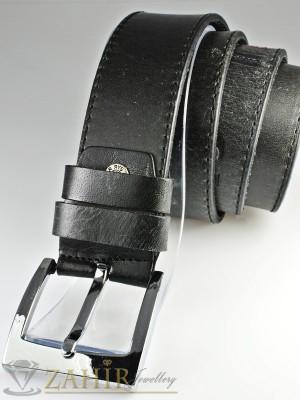 Сиво-черен колан с декоративни надписи от естествена телешка кожа стилна класическа тока широк 4,5 см - BD1049