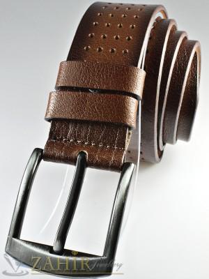 Кафяв колан с орнаменти, надупчен от естествена телешка кожа стилна класическа тока широк 4,5 см - BD1057