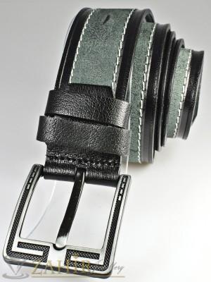 Сиво-черен колан с декоративни шевове от естествена телешка кожа стилна класическа тока широк 4,5 см - BD1062