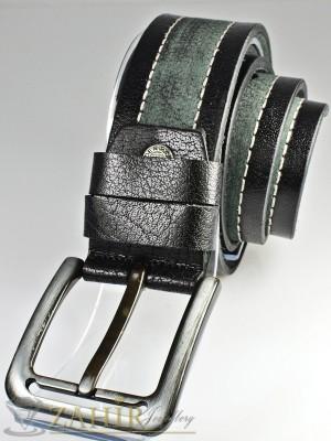 Сиво-черен колан с декоративни шевове от естествена телешка кожа стилна класическа тока широк 4,5 см - BD1063