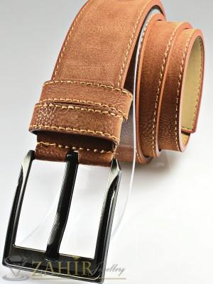Светлокафяв колан с декоративни шевове от еко кожа, класическа тока широк 4,5 см - BD1071