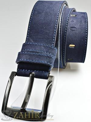 Тъмносин колан с декоративни шевове от еко кожа велур с класическа тока, широк 4,5 см - BD1073