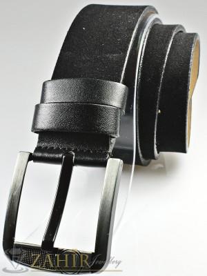Изчистен черен велурен колан от еко кожа с класическа тока, широк 4,5 см - BD1079
