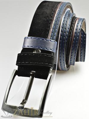 Черен велурен колан с декоративни шевове от еко кожа с класическа тока, широк 4,5 см - BD1080