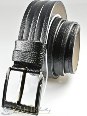 Черен колан с декоративни орнаменти, от еко кожа с класическа тока, широк 4,5 см - BD1088