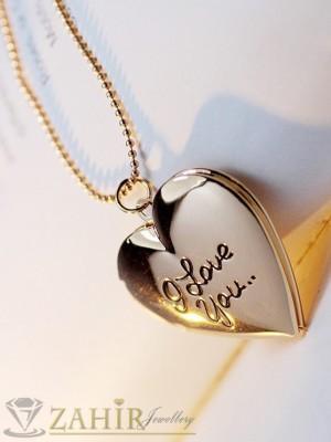 Колие 40+5см с отваряща се висулка сърце за снимка - 2,5 см, златно покритие - K1541