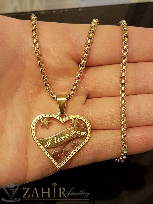 Дамски бижута - Висококачествена стоманена висулка сърце 3 см на позлатен стоманен ланец - K1211