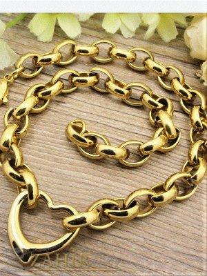 Позлатен стоманен ланец ланец в 4 размера с висулка сърце, широк 1 см, модна плетка, регулиращ се - K1349