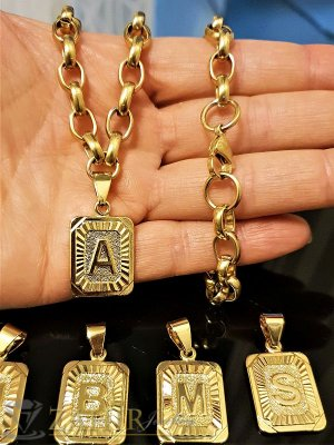 Дамски ланец с 26 инициала букви, наличен в 2 дължини , материал позлатена стомана- 45+5 см - K1413